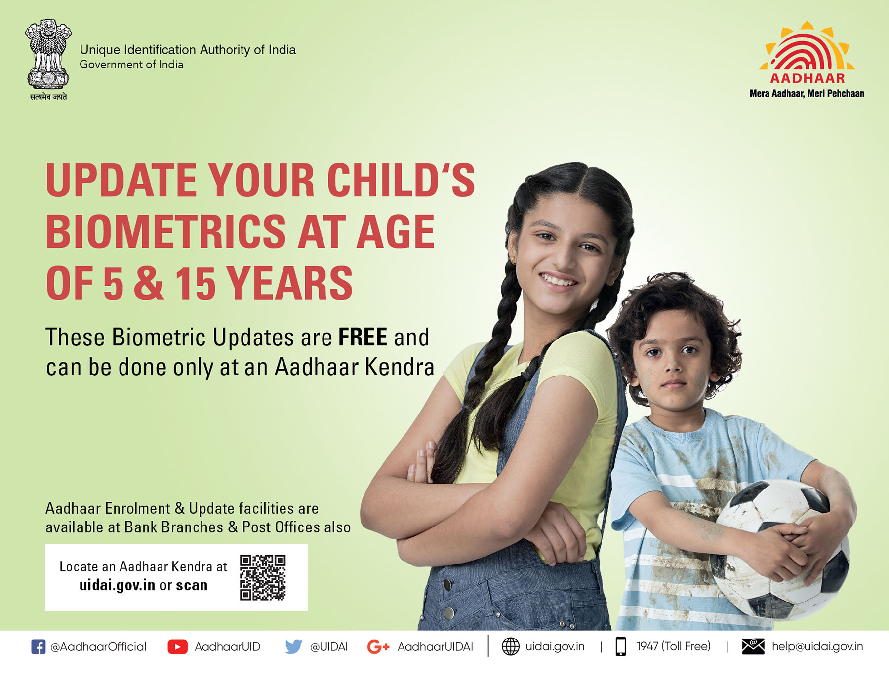 Update your child's biometrics at age 5 & 15