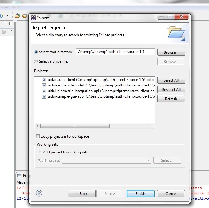 Auth Client Sample - Eclipse Import Screen
